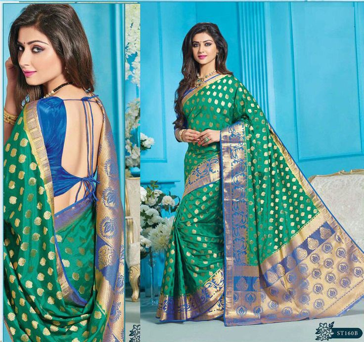 wedding Wear silk Saree Indian ethnic zari blouse Bollywood bridal green Sari  #Handmade #saree