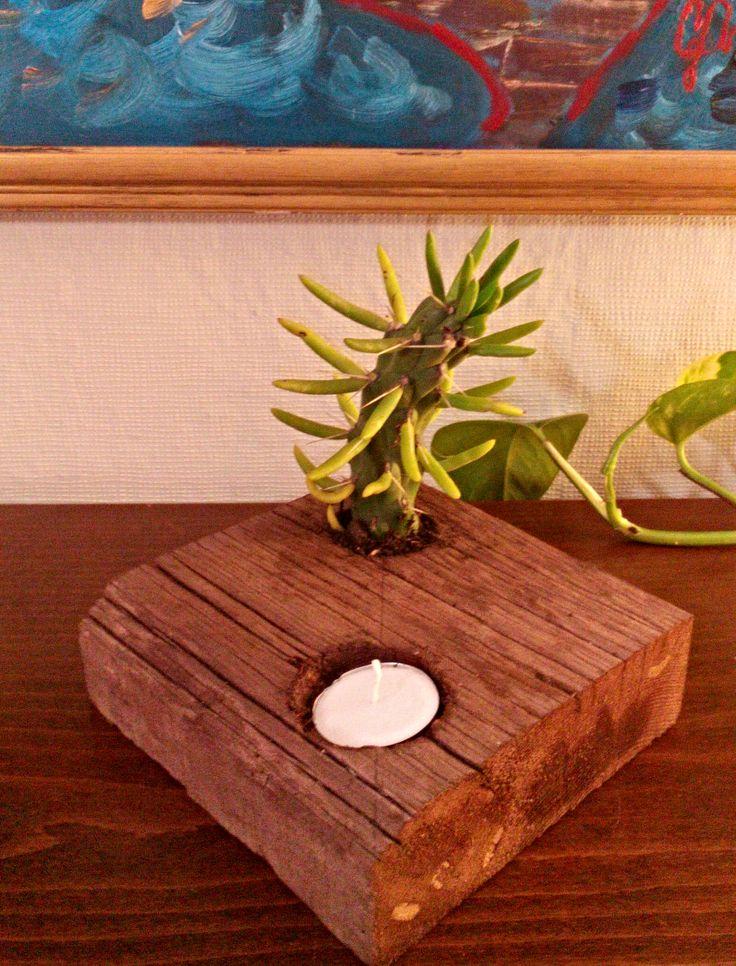 Tik Ağacı Ahşap Mumluk & Çiçeklik Vazo