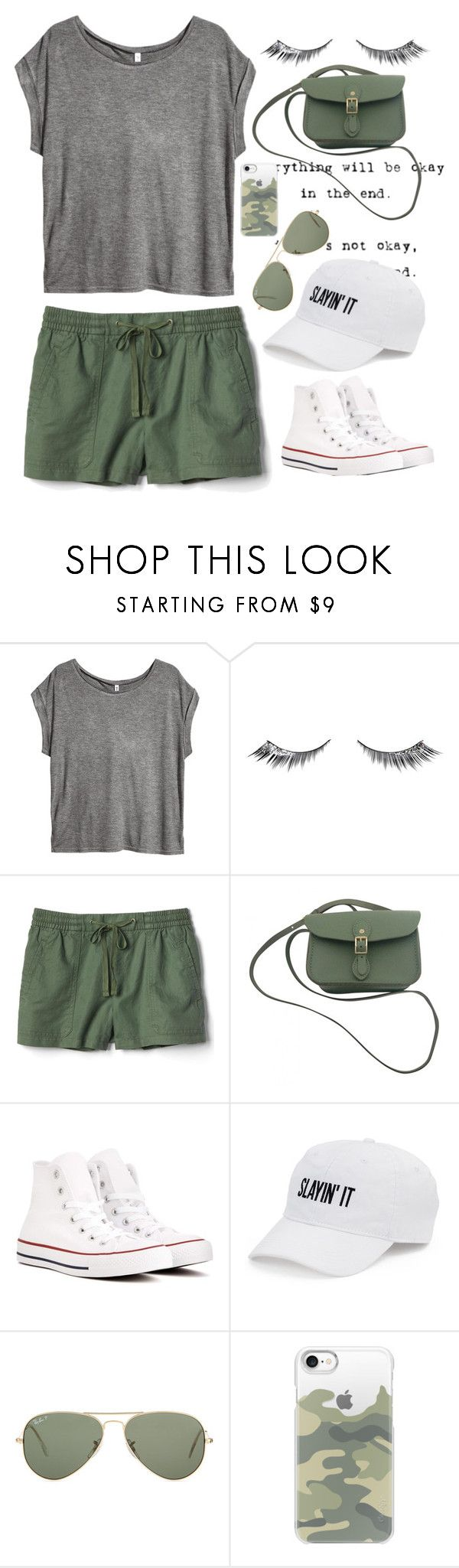 """""""Army Green"""" by pinkrasberry ❤ liked on Polyvore featuring H&M, Urban Decay, Gap, The Cambridge Satchel Company, Converse, SO, Ray-Ban and Casetify"""