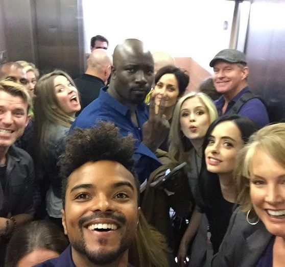 The Whole Jessica Jones Gang (Including Mike 'Luke Cage' Colter)