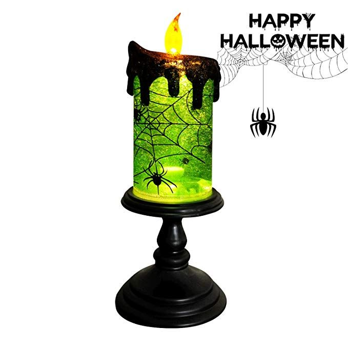 Halloween LED Water Snow Globe Candle Skull Light Decoration Lamp for Party