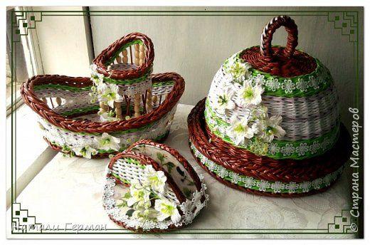 Поделка изделие Плетение Хлебницы Трубочки бумажные фото 15
