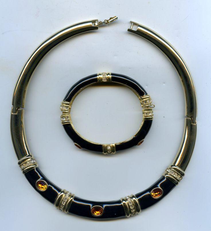 Vintage Ellen Kiam Lia Sophia Goldtone Black Enamel Rhinestone Collar Choker Necklace and Bracelet Set by waltermillerantiques on Etsy