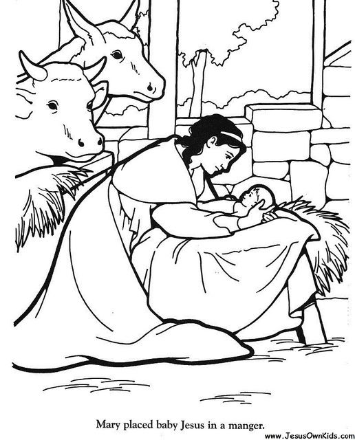 coloring pages bible jesus mary | 40b. Matthew- Mary placed baby Jesus in Manger www ...