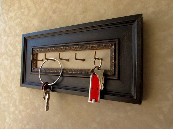 #Dark #Brown #Hanging #KeyHolder, #Dark #Wood #Frame, #Gold #Detail, #Wall #Mounted #Keyhook, #Wood #Keyholder, #Ornate #Keyholder, #Etsy, #for #sale, #greatfindsonetsy #customframing #woodkeyholder #customframers