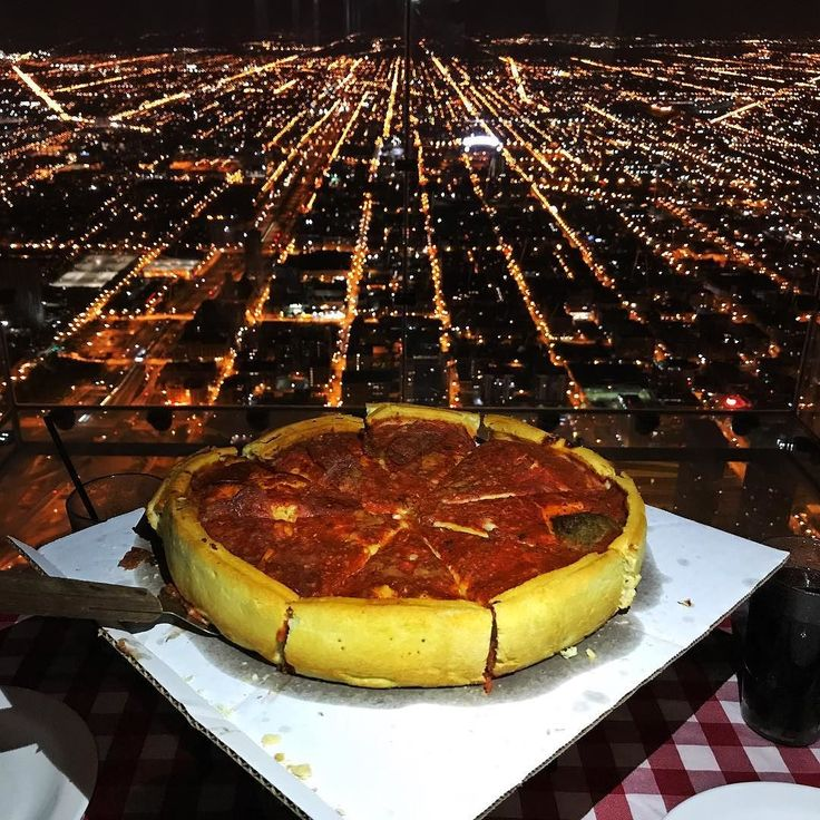 One of the most unique places we've ever had dinner! We enjoyed a Chicago deep dish pizza  from Giordano's at our very own private table on the 103rd floor of the Sears Tower (now called the Willis Tower) after hours. It's the Pie in the Sky VIP Experience with @skydeckchicago. We were free to explore the Ledges the glass boxes that jut out 4 feet from the building and the 360-degree views of Chicago during our 3-course dinner. Check it out on our Instagram Story before it disappears.