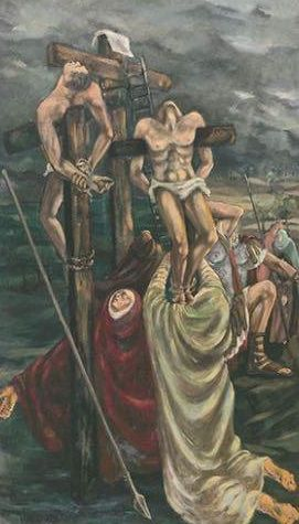 Dolores Puthod le tre marie 1954 olio su tavola cm. 142x254