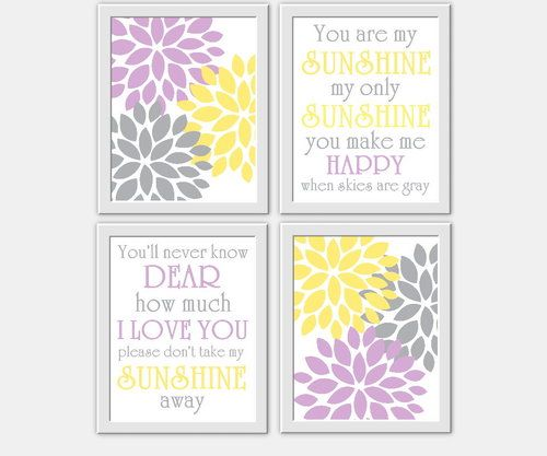 You Are My Sunshine Baby Girl Nursery Wall Art Lavender Gray Yellow Grey Flower Burst Prints for Girls Room Decor Song Prints
