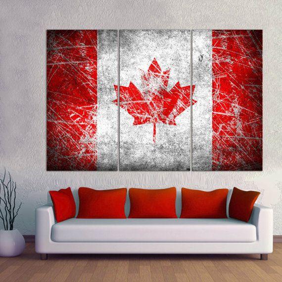 3 panel split canada flag canvas print 1 5 deep frames for Home decor canada