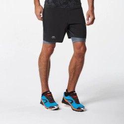 Pantalón baggy con malla corta trail running hombre compresión negro gris
