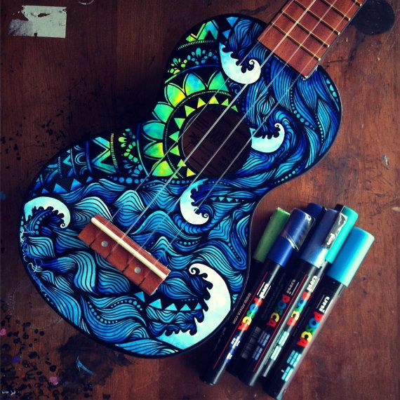 Waves & mandala ukulele by SaltyHippieArt on Etsy