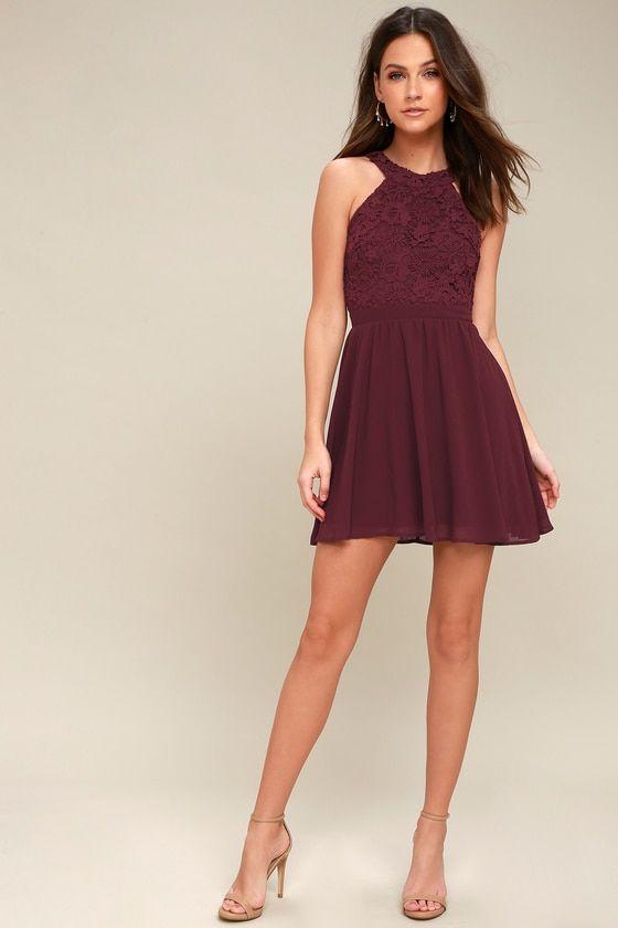 3e26993142 Lover s Game Burgundy Lace Skater Dress