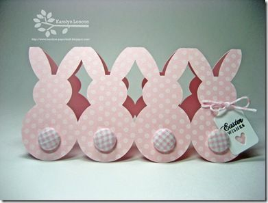 handmade card ... row of pink polka dot bunnies (like paper dolls) ... cut with Silhouette cutting file ... adorable button tails ...