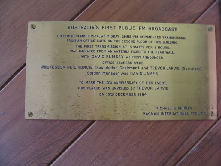 """243. """"The 1st building was at 5 Alexander St, Crows Nest.  There was a plaque on the wall in the foyer noting that the first public FM broadcast was made from the building. For our 30th anniversary I actually went and photographed the building and the plaque"""" - Sue Nicholas"""