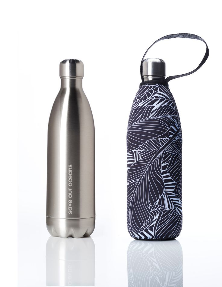 'Future' 34 oz Silver Travel Bottle and 'Leaf' Carry Cover by BBBYO