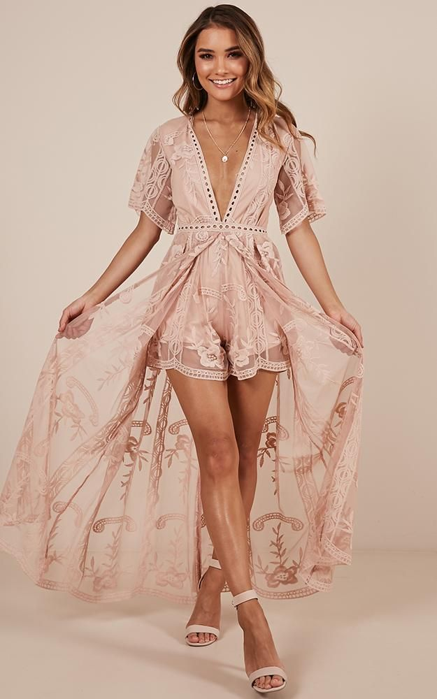 39967d198 Lets Get Loud Maxi Playsuit In Blush Lace in 2019 | I Like My Money ...