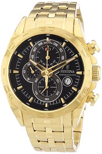 Montre Festina Or F16656/5 Homme - Quartz - Chronographe - Bracelet et Cadran Acier Or - Date - Chronometre