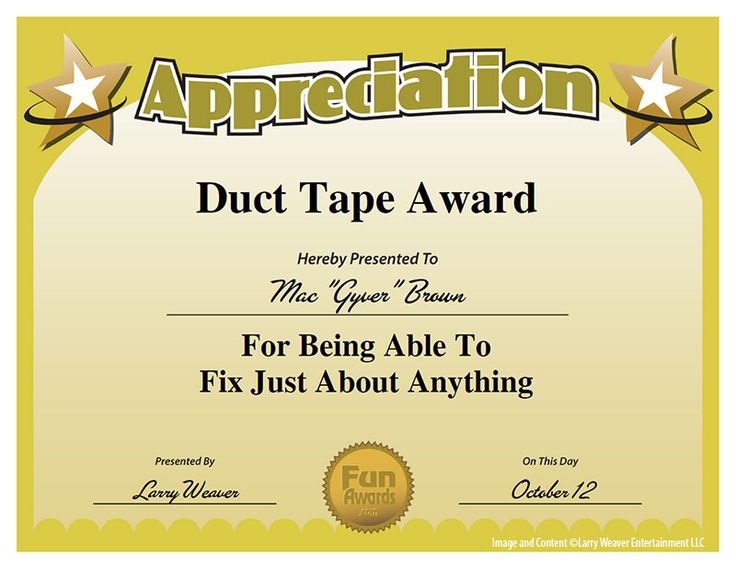 Duct tape award is ready to down load and use visual for Funny certificates for employees templates