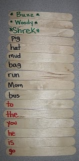 Sight Words/colors/numbers stick game