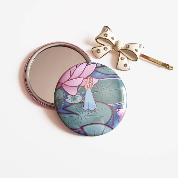 Pocket Mirror, Thumbelina, small round illustrated compact mirrors  £4 by Adelayde Art, Melissa Nettleship