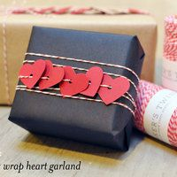 Heart garland on presents