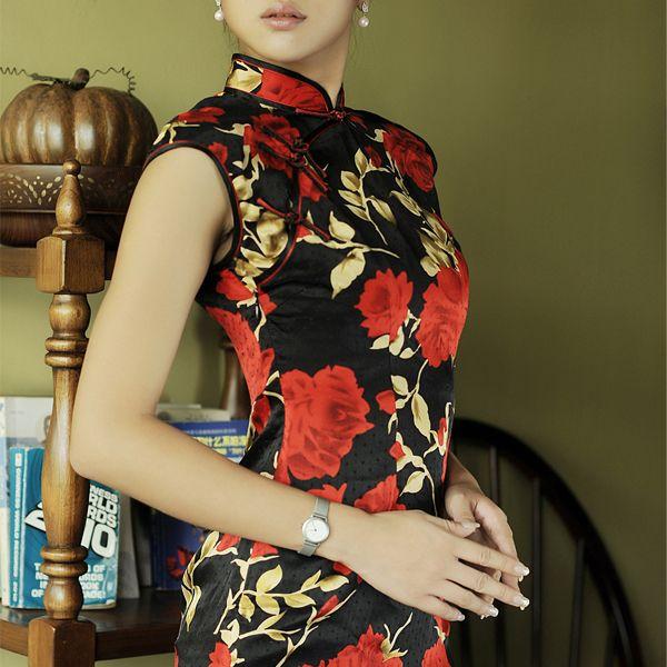 Classic Pattern Custom Tailored Qipao Rose