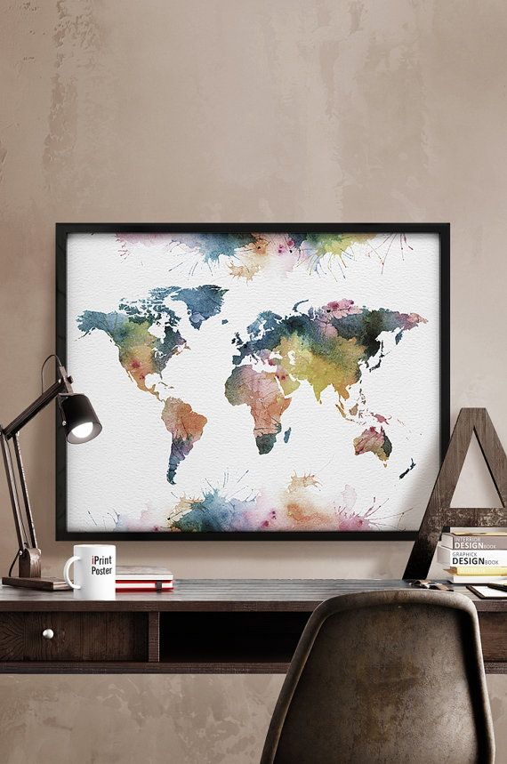 World map poster, Watercolor World map, Art Print,  Art, watercolour, World map…