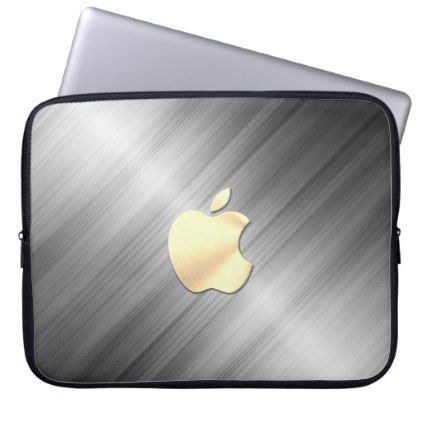 brushed metal with golden apple logo Laptop Sleeve - business logo cyo personalize customize diy special