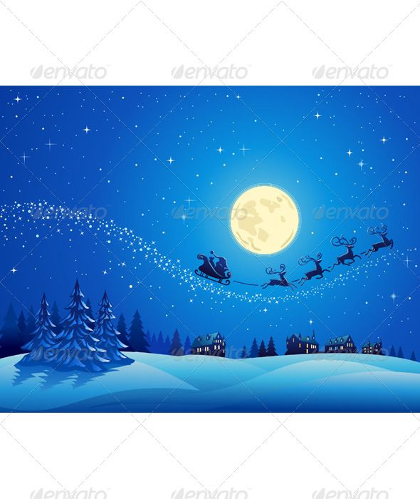 Santa Into the Winter Christmas Night 2  #GraphicRiver         Christmas winter landscape with Santa into the sky.     Created: 23November10 GraphicsFilesIncluded: JPGImage #VectorEPS Layered: Yes Tags: blue #cartoon #christmas #christmascard #christmastree #deer #fir #merrychristmas #night #santa #snow #tree #winterlandscape