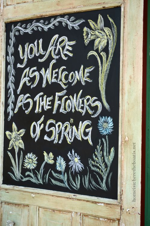 Spring quote inspiration for chalkboard door #potting shed #chalkboard