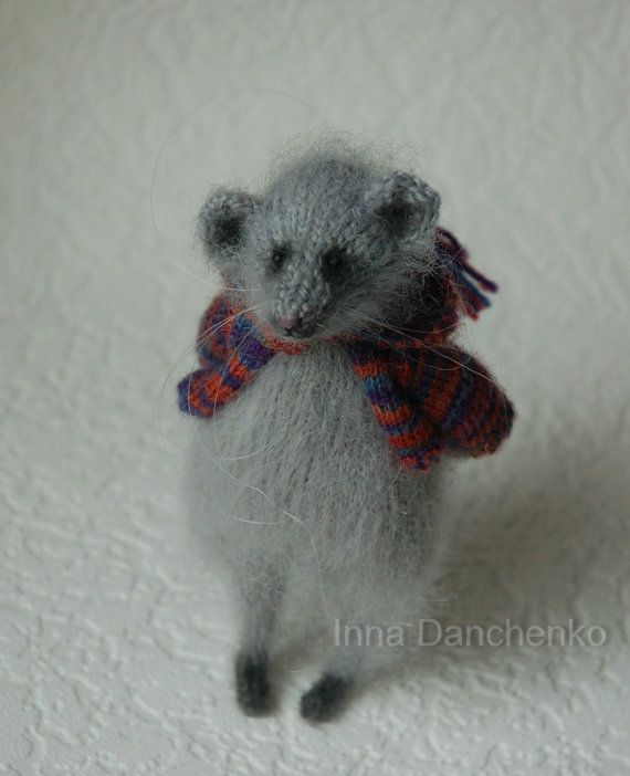 Knitted Mouse Toy Soft Sculpture  ready to by InnaDanchenkoArt