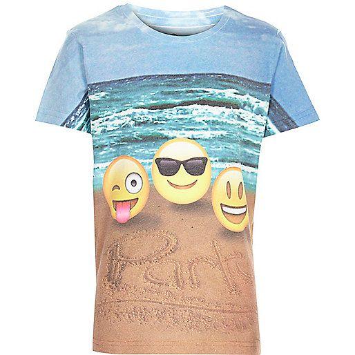 Boys white beach emoji party t-shirt