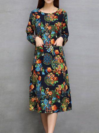 Only US$28.79 , shop Ethnic Women Long Sleeve Floral Printed Pocket Loose Dress at Banggood.com. Buy fashion Vintage Dresses online.