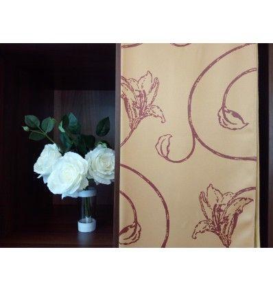 Draperie crem model floral visiniu din poliester 1.40 latime Unland, Athen CS D-8464-300