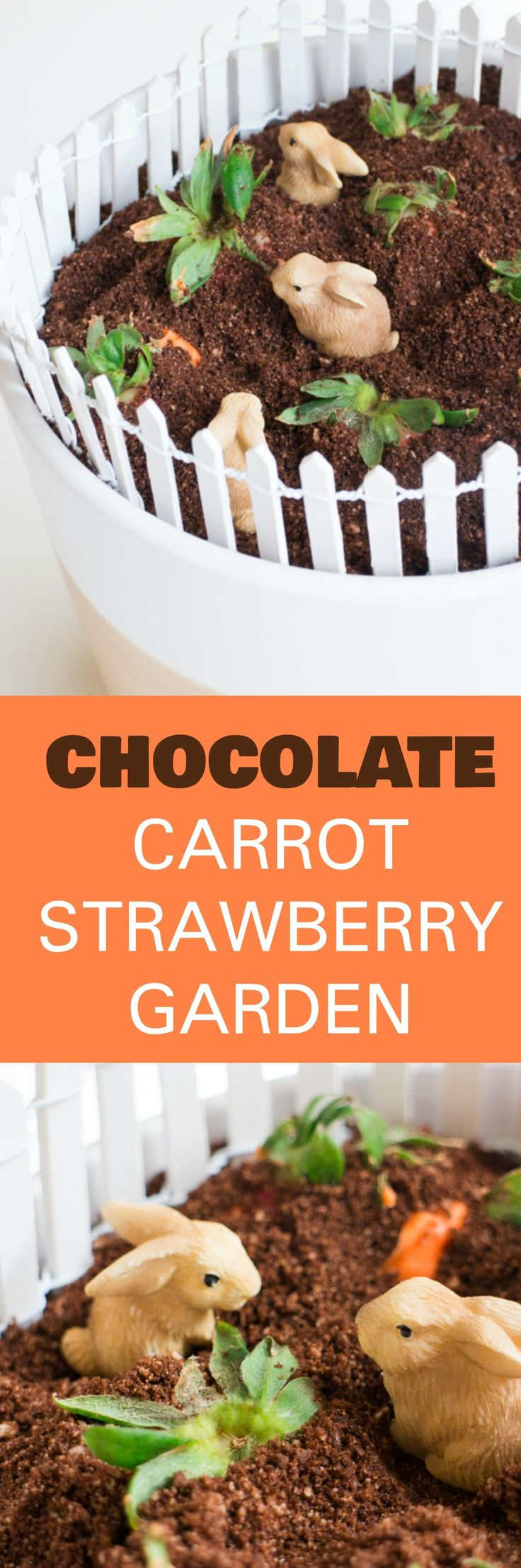 EDIBLE Chocolate Carrot Strawberry GARDEN is the perfect DIY Mother's day gift from kids! This simple craft uses chocolate cookies for dirt and chocolate covered strawberries for carrots! Place a few craft rabbits in the dirt and you have a beautiful edible vegetable garden! Great for toddlers,  preschoolers and older children to make for Mothers and Grandmas who love to garden!