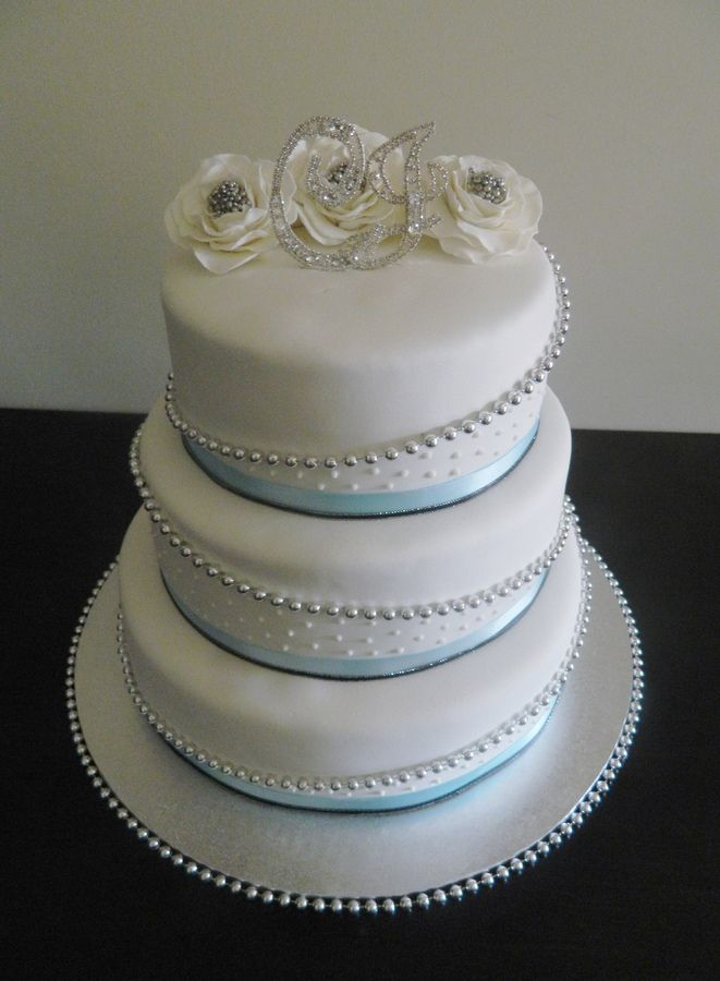 blue black and silver wedding pictures | Baby Blue, Black and Silver — Round Wedding Cakes