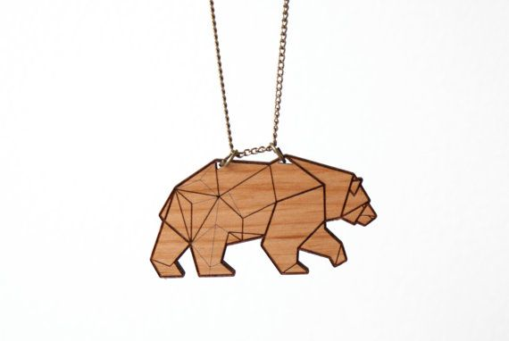 Bear Laser Cut Wood Necklace