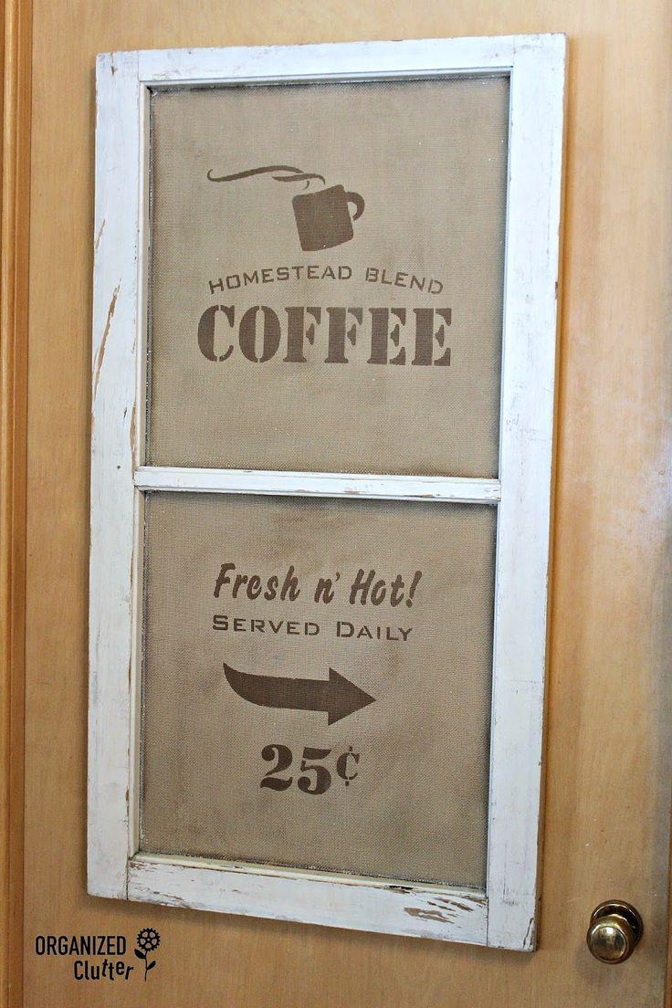 segno caffè schermo della finestra, da Clutter Organizzazione, presenti in interni Junk Funky