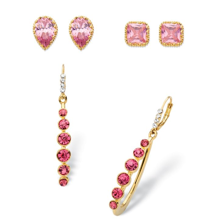 So pretty in pink, this 3-piece crystal set has an earring style to suit your every mood. Round and pear-cut studs are p-W2kJCmyq