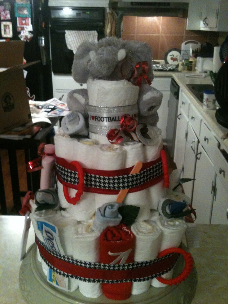 Alabama Diaper Cake Used As Decoration For Baby Shower Plus Gift To Mom Be