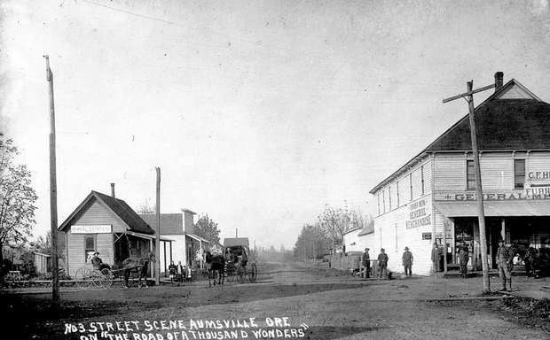 An aumsville oregon street scene in 1911 a year before for Heritage motors medford oregon
