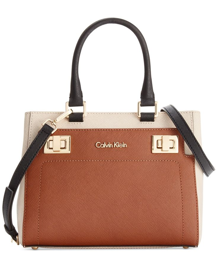Calvin Klein Ashley Saffiano Crossbody - Designer Handbags - Handbags & Accessories - Macy's | LOVE this in black/white and luggage combo
