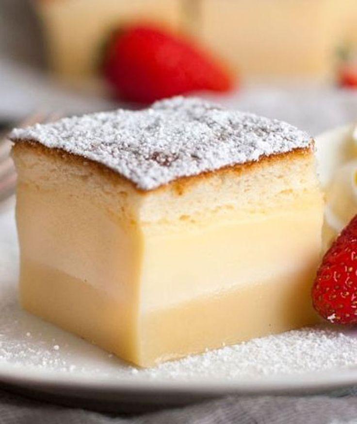 Magic Custard Cake <3 one simple batter transforms into a 3 layered cake! A fudgey