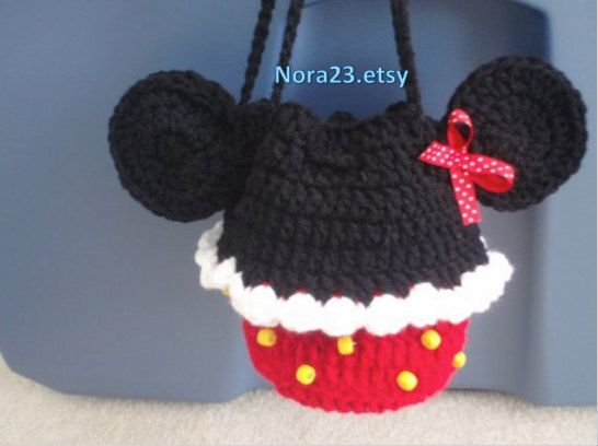 crochet cupcake minnie mouse mickey purse bag children by Nora23, $15.50