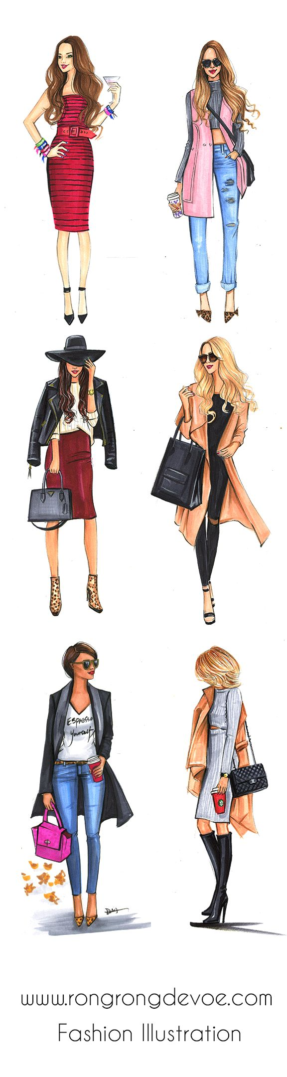 Fashion illustrations of street style fashionistas by Houston fashion illustrator Rongrong DeVoe, more fashion sketches on www.rongrongdevoe.com