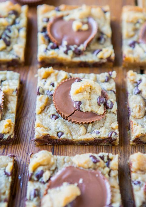 Two-Ingredient Peanut Butter Cup Chocolate Chip Cookie Dough Bars (Gluten-Free) - Easy Recipe at averiecooks.com
