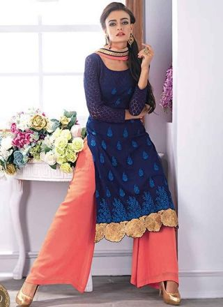 Blooming  Navy Blue Embroidery Booti Stone Work Designer Pakistani Suits