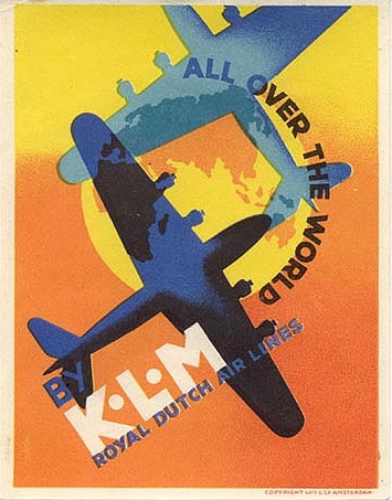 "Vintage KLM Travel Poster: ""All Over The World"""