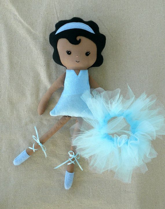 Cloth Doll Fabric Doll Blue Ballerina Black Hair - Made to Order.