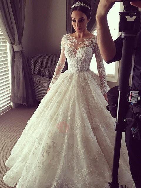 Tidebuy.com bietet hohe QualitätSpitze Applikation Langarm A-Linie HochzeitskleidWir haben mehr Arten fürMuslim Hochzeitskleider